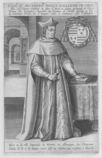 William de Croÿ (bishop) - A 1610 engraving of Archbishop Croÿ.  (It is unlikely that the artist actually had a reliable model to work from, so appearance is not guaranteed to be accurate.)