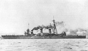 Kawachi-class battleship - Settsu at anchor on 7 April 1940