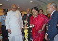 Jayanthi Natarajan lighting the lamp at the inaugural function of the Golden Jubilee Celebrations of Animal Welfare Board of India (AWBI), in Chennai. The Governor of Tamil Nadu, Dr. K. Rosaiah and the Chairman of AWBI.jpg