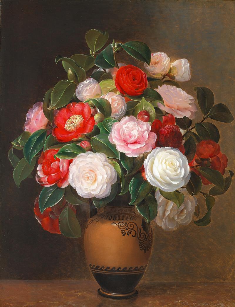 """Johan Laurentz Jensen - Kameliaer i en """"græsk"""" vase - 1843.png"""