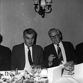 Gösta Ekspong - John Adams, CERN Director General, and Gösta Ekspong, Chair of the CERN Scientific Policy Committee.