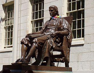 Harvard Yard - Image: John Harvard statue at Harvard University