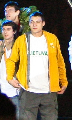 Jonas Mačiulis - Mačiulis during the EuroBasket 2007 bronze medalists meeting ceremony in Vilnius. It was his first tournament with the national team.