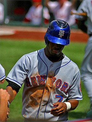 José Reyes (infielder) - Reyes is congratulated after scoring, 2006