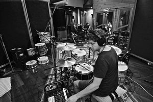 The Paper Kites - Josh Bentley setting up at Sing Sing Studios, February 2013