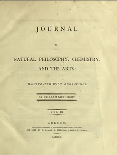 <i>Journal of Natural Philosophy, Chemistry, and the Arts</i> scientific journal between 1787 and 1814, merged with Philosophical Magazine