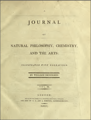 Journal of Natural Philosophy, Chemistry, and the Arts - Title page of 1799-1800 volume