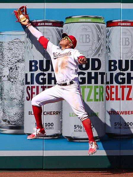 File:Juan Soto makes a leaping catch against the fence from Nationals vs. Braves at Nationals Park, September 13th, 2020 (All-Pro Reels Photography - Patrick Rouin).jpg