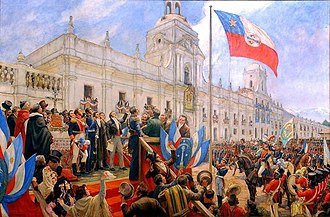 Bernardo O'Higgins swears officially the independence of Chile. JuraIndependencia.jpg
