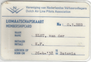 KLM Flight 867 - Captain Karl van der Elst / Back Dutch pilot association membership card