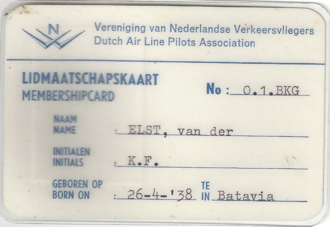 KLM Flight 867 - Captain Karl van der Elst / Back Dutch pilot association membership card