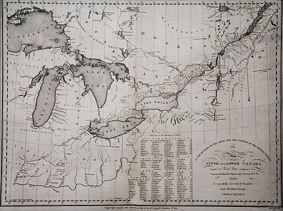 A map of the Canadas from 1812. It has been disputed whether or not the American desire to annex Canada brought on the war. KENSETT MAP CANADA 1812.jpg