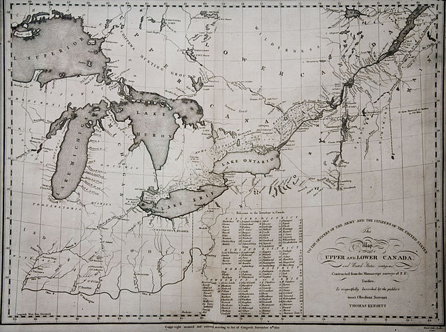 A map of the Canadas from 1812. It has been disputed as to whether or not the American desire to annex Canada brought on the war.