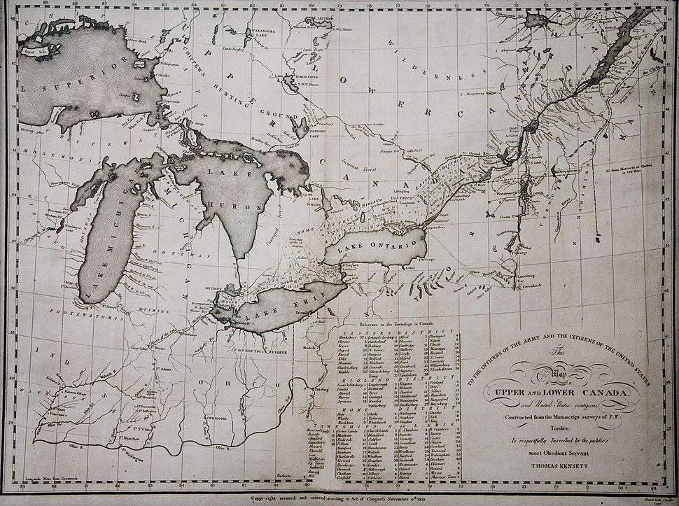 KENSETT MAP CANADA 1812