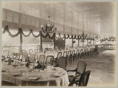 KITLV 12554 - Kassian Céphas - Tables, set for dinner in the dining room of the residency at Yogyakarta - Around 1896.tif
