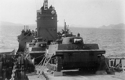 Group of Type 2 Ka-Mi tanks on board of 2nd class transporter of the Imperial Japanese Navy, 1944-1945 Ka-Mi tanks on 2nd Class Jusokan.jpg