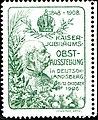 Kaiser-Jubiläums-Obstschau Deutschlandsberg 1908 Vignette blaugrün.jpg