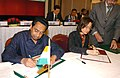 Kamal Nath and the Russian Minister for Economic Development and Trade, Mrs. Elvira S. Nabiullina signing a protocol at the concluding session of the India-Russia Forum on Trade and Investment, in New Delhi.jpg
