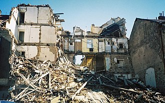 2002 European floods - Flood damage in the Karlin district of Prague.