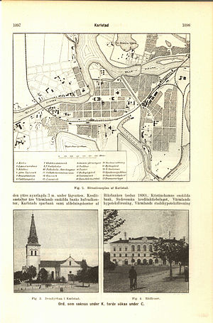 Karlstad - Illustration of Karlstad's road network; its cathedral; the town hall