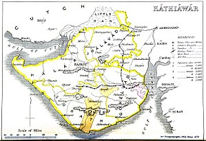 Kathiawar - Kathiawar 1855 with its four prant districts: Halar, Jhalavad, Sorath and Gohelwad.