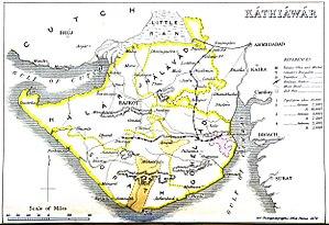Sorath prant - Map of the four prants of colonial Kathiawar, 1855