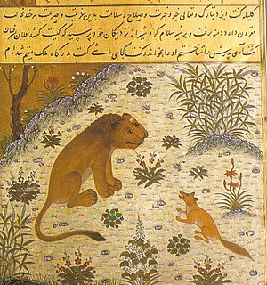 One Thousand and One Nights - A page from Kelileh va Demneh dated 1429, from Herat, a Persian version of the Panchatantra – depicts the manipulative jackal-vizier, Dimna, trying to lead his lion-king into war.