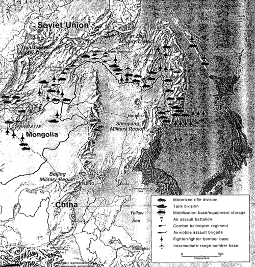 Distribution of military power in the Far East and Mongolia of the Soviet Union during the Cold War Key Soviet Forces Opposite Norteastern China.png