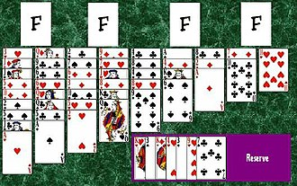 King Albert (solitaire) - The initial layout of the game of King Albert.