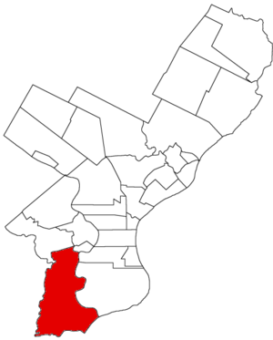 Southwest Philadelphia - Map of Philadelphia County, Pennsylvania, highlighting West Philadelphia Borough before the 1854 Act of Consolidation