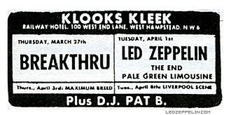 Klooks Kleek - Concert announcement for Led Zeppelin at Klooks Kleek
