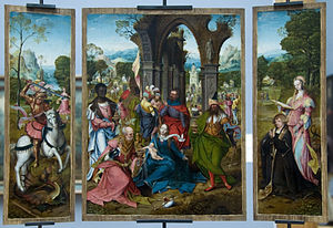 Master of the Antwerp Adoration - Triptych showing exotic clothing and mannerist poses