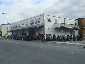 Kodiak, Alaska - Customers line up in front of the Orpheum Theater