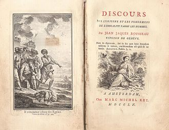 Simon van der Stel - Frontispiece and title page of an edition of Rousseau's Discourse on Inequality (1754), published in 1755 in Holland.
