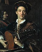 Painter David Hoyer playing a lute
