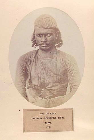 Khas people - Khas man of Nepal, as depicted in The People of India (1868-1875)