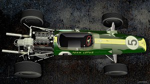 Lotus 49 - A Lotus 49 with Ford V-8 engine drawing