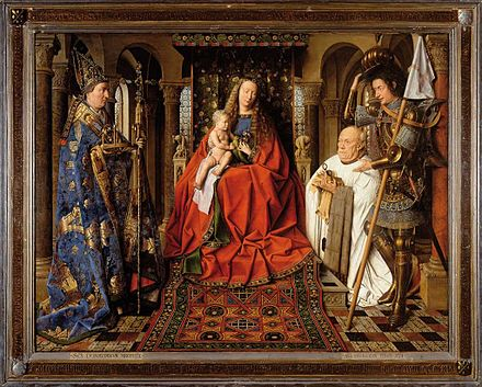 The Virgin Mary and the child Jesus seated on an elevated throne decorated with biblical figures. To the left is St. Donatian (standing). The panel's donor Joris van der Paele kneels in prayer as St. Donatian stands over him.