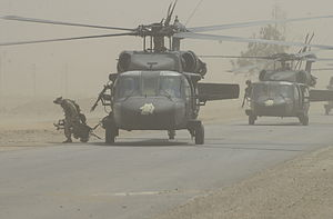 "Combat Aviation Brigade, 101st Airborne Division - UH-60L from B Company (""Lancers""), 5th Battalion, on an air assault mission in Iraq"
