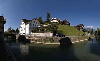 Sarnen - Houses around the Landenberg hill.