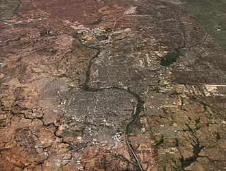 Laredo, Texas - NASA satellite image of Laredo and Nuevo Laredo (2007)