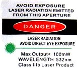 US laser warning label