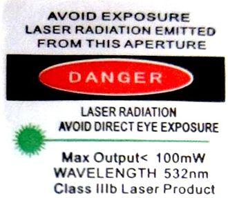 Laser safety - Typical US (ANSI) laser warning label