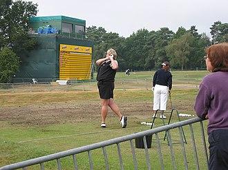 Laura Davies - Laura Davies on the practice range during the Women's British Open 2004 at Sunningdale Golf Club