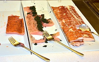 Gravlax - Salmon dishes: gravlax in the middle, cold-smoked on the left and warm-smoked on the right