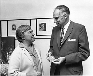 "Dixy Lee Ray - Dixy Lee Ray presents the Pacific Science Center's ""Arches of Science"" award to Nobel Laureate Glenn Seaborg in 1968."