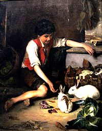 """Child with rabbits"" by Polychronis Lembesis"