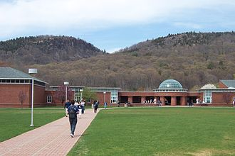 Quinnipiac University - Campus and Lender School of Business Center, with Sleeping Giant in background, April 2005