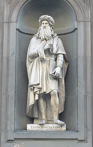 Personal life of Leonardo da Vinci - A statue of Leonardo outside the Uffizi Gallery in Florence, based upon contemporary descriptions