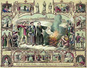 English: Print shows Luther burning papal bull...